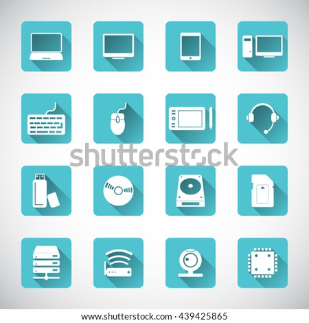 Computer and computer parts icon set - stock vector