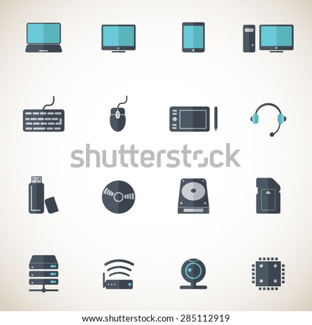 Computer and computer parts icon set - Professional icons for print or Web.  - stock vector