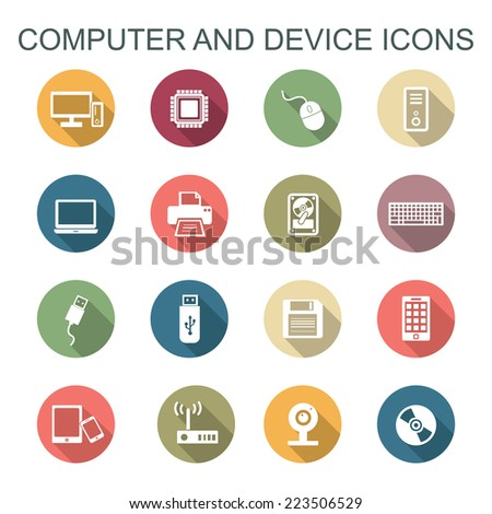 computer and device long shadow icons, flat vector symbols - stock vector