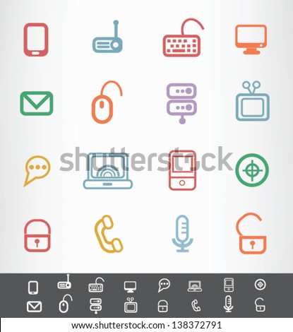 Computer and hardware icons,vector - stock vector