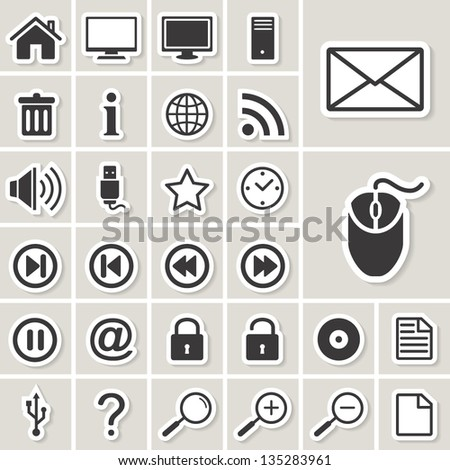 computer and internet vector web icons set. paper stickers - stock vector
