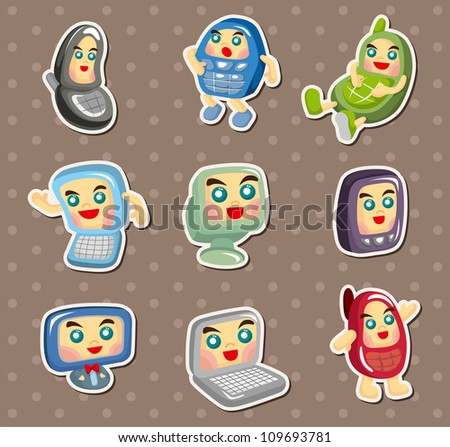 computer and mobile phone stickers - stock vector