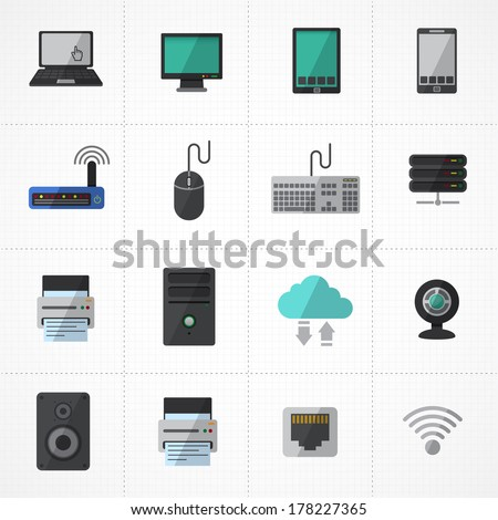 computer and network and mobile devices icons set. Network connections  - stock vector