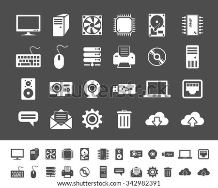 Computer and network devices. Clean and simple vector icons for application and websites - stock vector