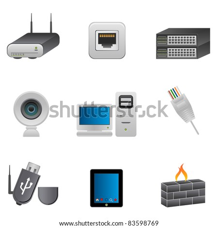 Computer and network parts and devices - stock vector