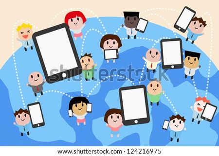 computer and networking, cartoon vector - stock vector