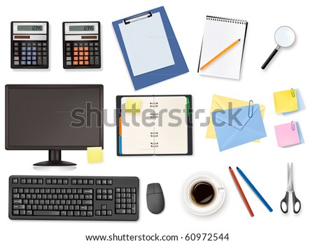 Computer and office supplies. Vector. - stock vector