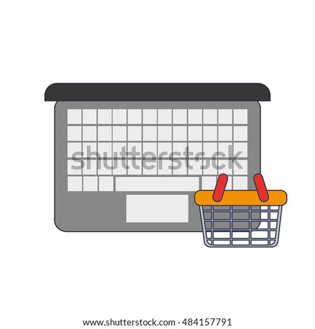 computer and shopping basket icon