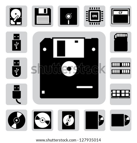 Computer and storage icons set. Illustration eps 10