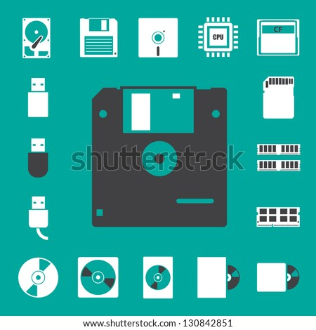 Computer and storage icons set. Illustration eps 10 - stock vector