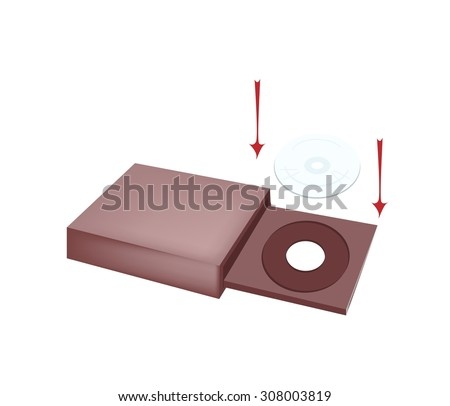 Computer and Technology, CD-ROM Disk Drive or A Computer Drive Capable of Reading CD-ROM Discs for Desktop PC. - stock vector