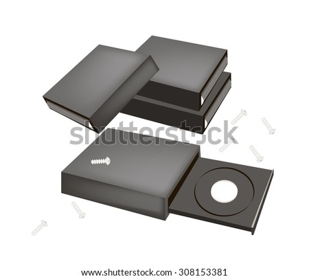 Computer and Technology, CD-ROM Disk Drive or Computer Drive Capable of Reading CD-ROM Discs for Desktop PC. - stock vector