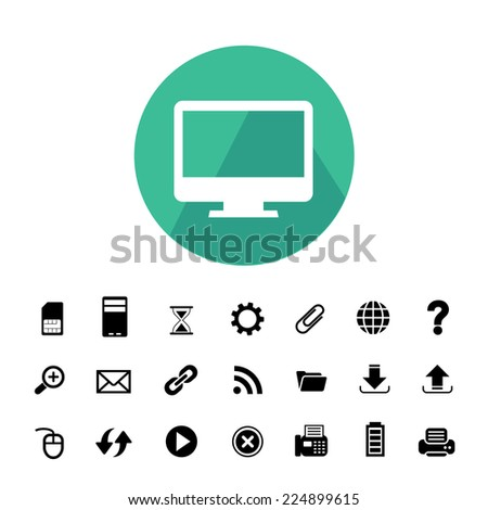 computer and technology vector icon set  - stock vector