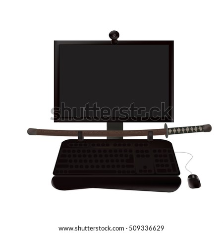 computer black and a samurai sword on white background.the concept of the mastery of the computer