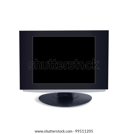 computer black screen isolated on white background - stock vector