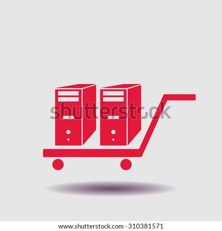 Computer box in cart icon, vector illustration. - stock vector