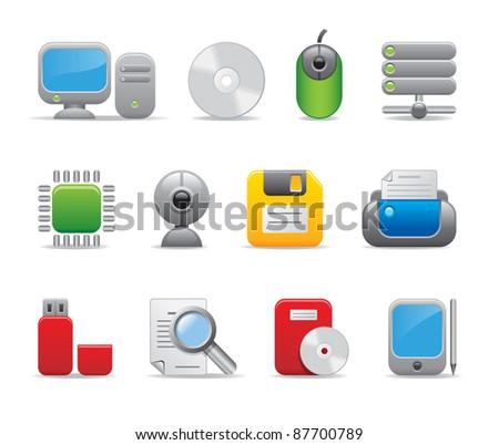 Computer business office entrepreneur IT developer logos icons set  - stock vector