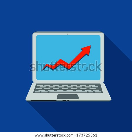 Computer Busness Flat Icon Vector Illustration