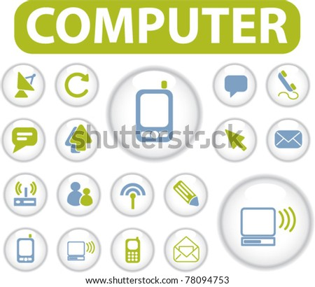 computer buttons icons, signs, vector - stock vector