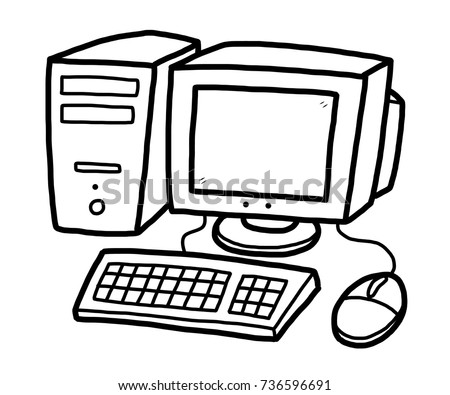 computer cartoon vector illustration black white stock vector rh shutterstock com computer mouse clipart black and white parts of computer clip art black and white
