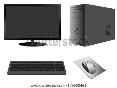 Computer Case with Monitor, Keyboard and Mouse. Vector. - stock vector