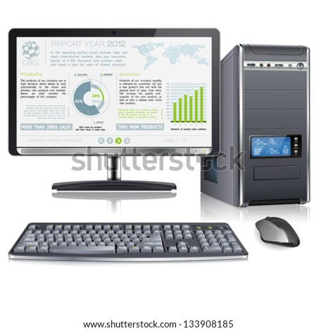 Computer Case with Monitor, Keyboard, Mouse and Presentation Company Year Report on Screen, isolated on white background, vector - stock vector