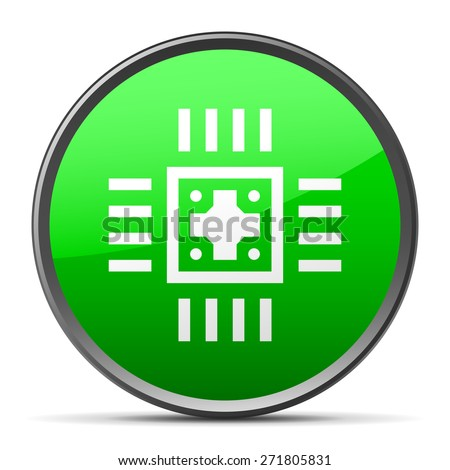 Computer Chip icon on a round button. - stock vector