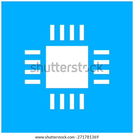 Computer Chip icon on a white background. - stock vector