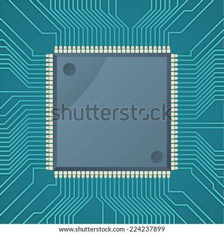 Computer chip microchip dots green display Vector Illustration Cartoon. - stock vector
