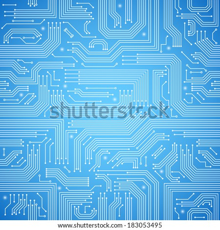 Computer circuit board bright blue seamless pattern vector illustration - stock vector
