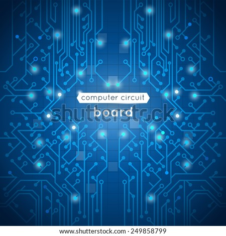 Computer circuit board poster with hardware motherboard processor on blue background vector illustration