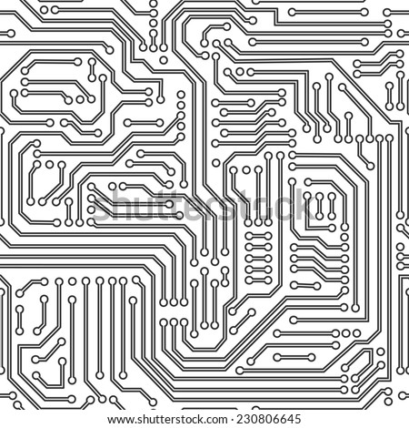 Computer circuit board seamless pattern. Black and white. Vector. - stock vector