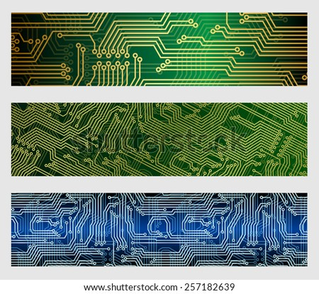 Computer circuit board web banner vector backgrounds  - stock vector
