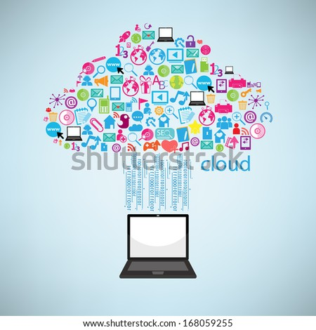 Computer clicking cloud icon. Concept vector illustration, EPS10. - stock vector