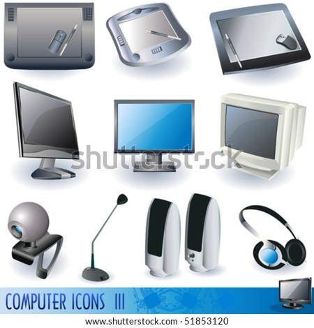Computer color icons, peripheral units. - stock vector