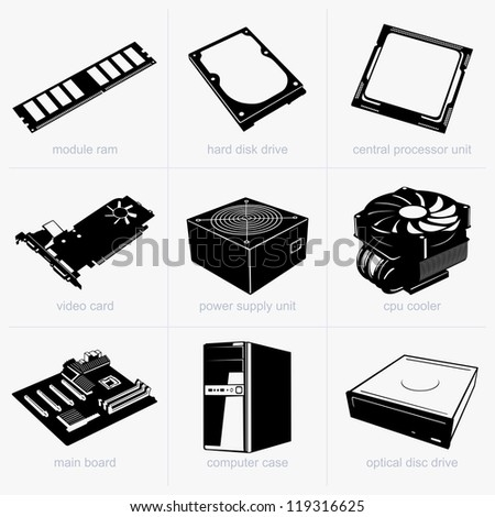 Computer components - stock vector