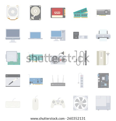 Computer components and peripherals flat icons set graphic illustration design  - stock vector