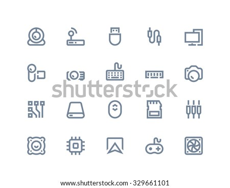 Computer components and peripherals icons. Line series - stock vector