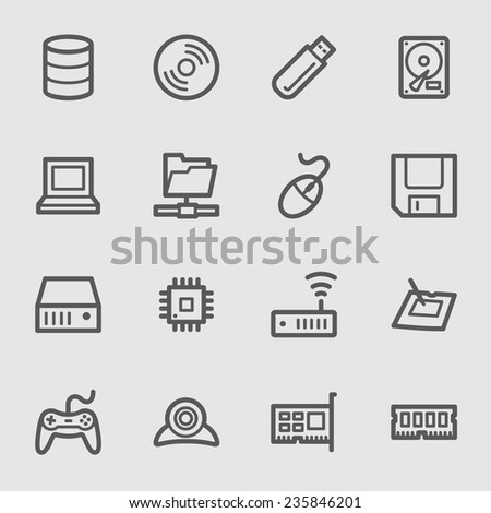 Computer components web icons set - stock vector