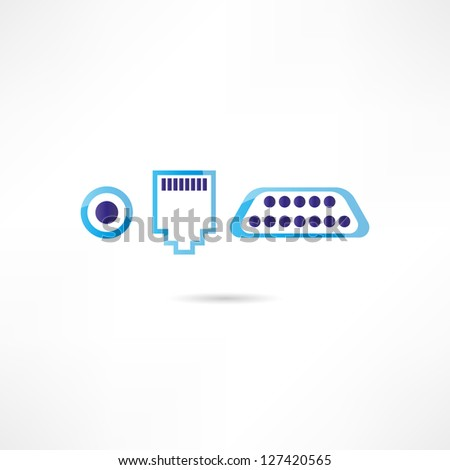 Computer connectors icon - stock vector