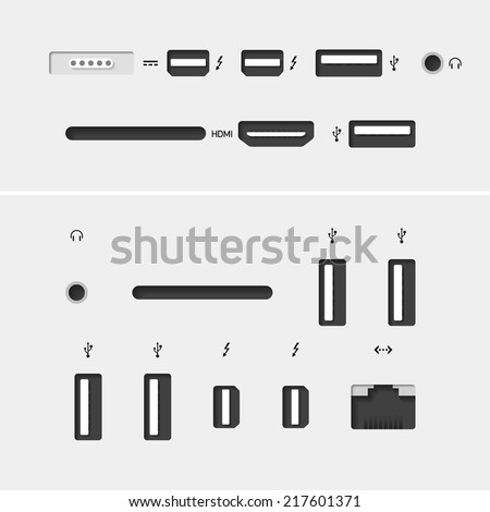 Computer connectors with icons. Vector. - stock vector