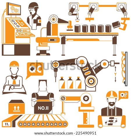 computer controlled automated manufacturing process, industrial robot - stock vector