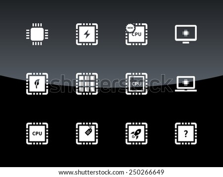 Computer CPU and microchip icons on black background. Vector illustration. - stock vector