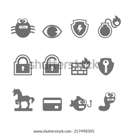 Computer criminal icons vector set  in single color     - stock vector