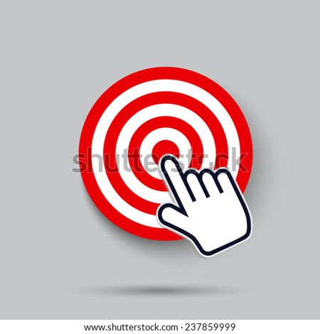 computer cursor hand icon clicks on the bulls eye of a red target - stock vector