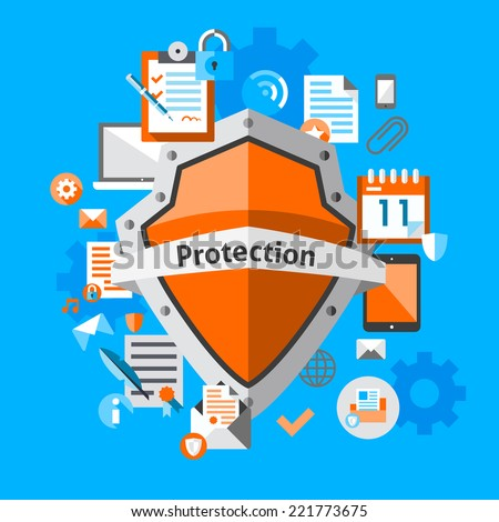 Computer data protection and secure concept with safe internet information elements vector illustration - stock vector