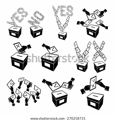 computer design, computer icon, black and white icon set, vector, illustration of voting or vote - stock vector