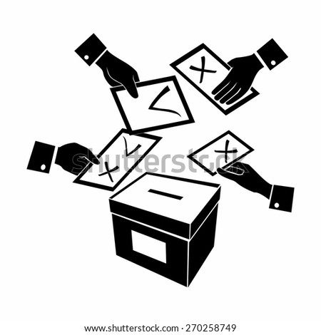 computer design, computer icon, black and white vector, illustration of voting or vote - stock vector