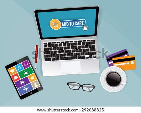 Computer desk top view, workplace cartoon, shopping online, vector - stock vector