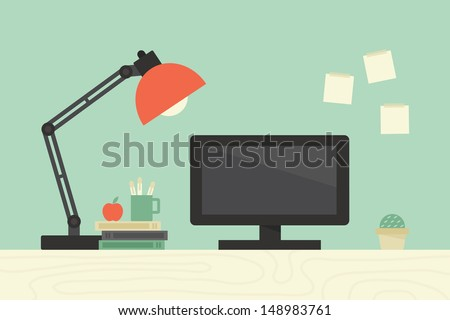 Computer desk, workplace - stock vector